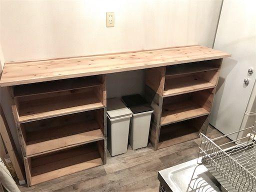 賃貸DIY 食器棚DIY リンゴ箱