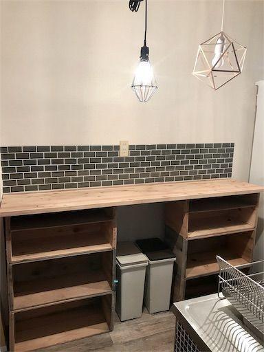 賃貸DIY 食器棚DIY リンゴ箱 タイルシール