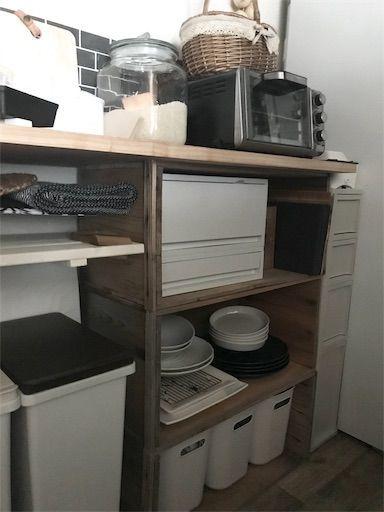 賃貸 キッチン リンゴ箱 DIY