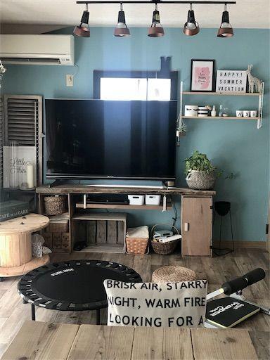賃貸リビング 賃貸DIY インダストリアルインテリア テレビ台DIY