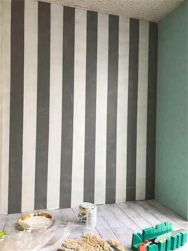 ペンキ ぺイント ボーダーの壁 壁DIY