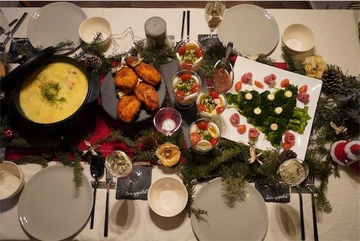 クリスマス クリスマスディナー テーブルコーディネート 簡単ディナー