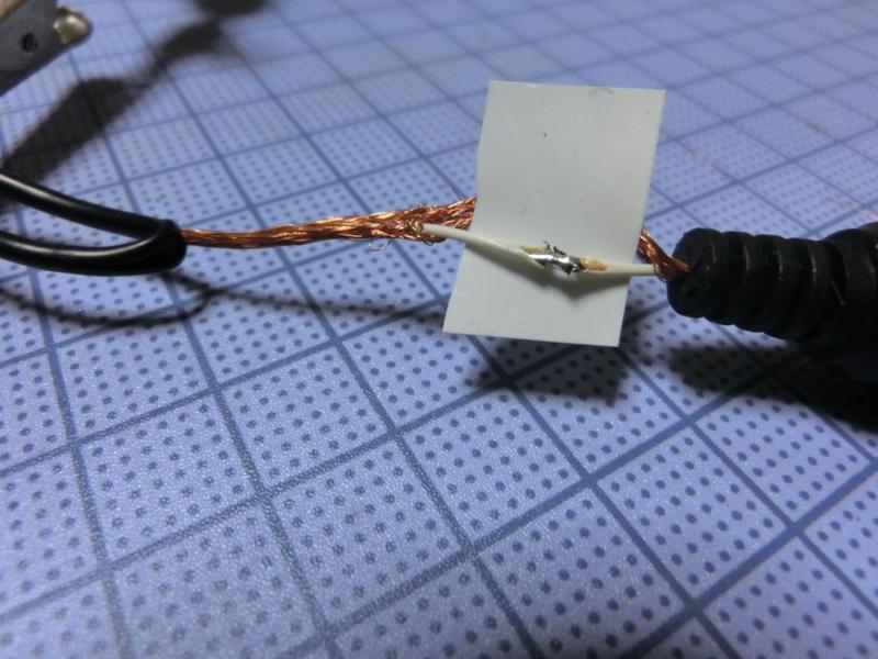 チューナー用マイクの内部配線の断線を修復