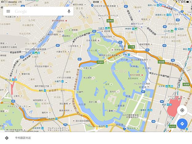 Google mapの地図画面
