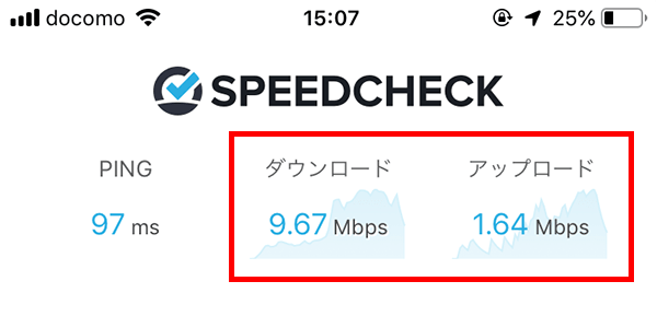 HEP FIVE前のネクストモバイルの通信速度