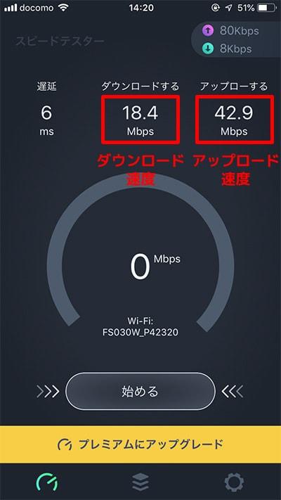 速度計測アプリの結果画面