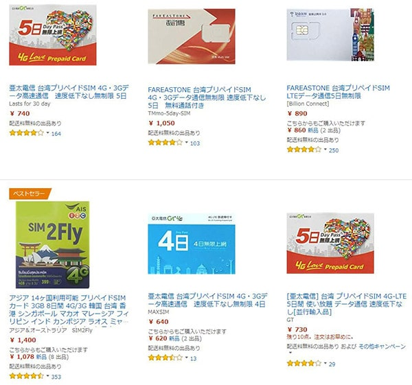 アマゾンに売られている海外のプリペイドSIM