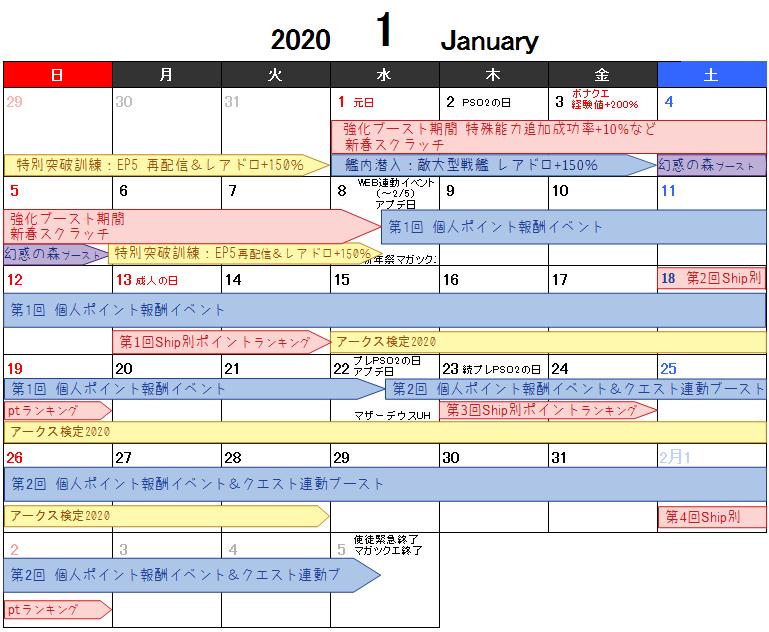 ぷそにスケジュール2020年1月