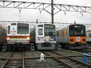 東京メトロ7000系・西武6000系・東武50070系 3並び