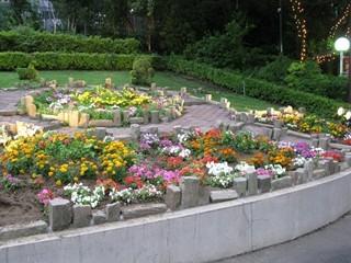 入口付近の花壇