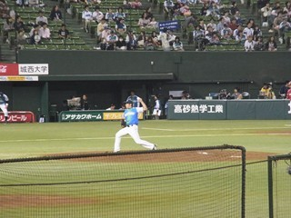 菊池投球練習