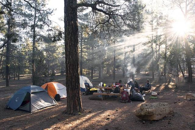 テントを張って食事をしている家族の写真