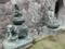 銅造の普賢菩薩と如来像