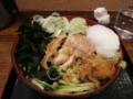 鶏そば[冷](600円)+無料トッピング全部+温玉(0円)
