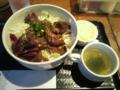 国産牛ハラミ丼(650円)+大盛(0円)+チーズ(サービス券-100円)+ホットコ