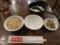 スープとお新香、食べ放題のご飯