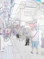 色鉛筆画調亀戸餃子の大行列