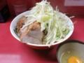 汁なし大盛りラーメン(750円)+ブタ入り(100円)+生たまご(50円)