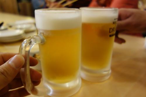 半額の生ビール二杯