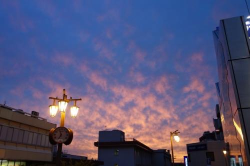 JR津田沼駅の夕空