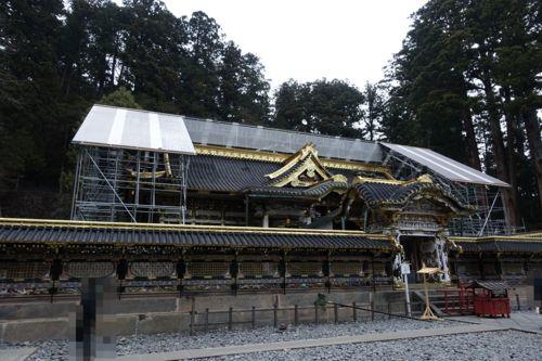 改修中の拝殿