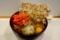 まいたけ天玉そば(500円)+大盛(50円)+セルフ紅生姜