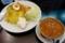 赤い鶏カレー・山盛り(790円)+無料トッピング(1.味玉・4.ポテトサラダ