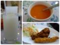 ラッシーとスープとタンドリーチキンとシックカバブ