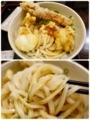 天ぷらをのせたおろし醤油うどんを箸上げ