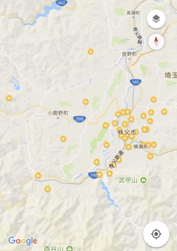 Google map 札所にラベル