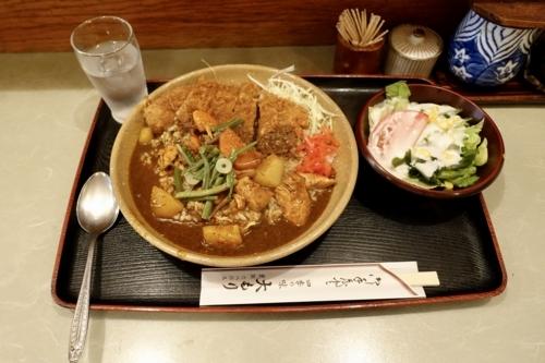 辛口和風カレーライス・サラダ付(750円)+ロースカツ(200円)