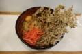 まいたけ天玉そば(500円)+大盛(50円)+セルフ紅生姜&七味唐辛子