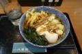 朝そば・温【野菜とイカげそ入り半かき揚げ・半熟卵】(400円)