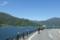 河口湖畔を走る