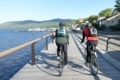 自転車通行可の木道を走る