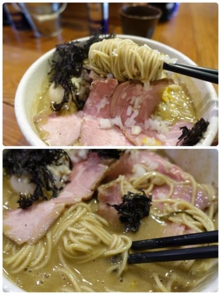 濃厚なスープから麺をリフトする