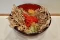まいたけ天玉そば(500円)+セルフ紅生姜&七味唐辛子