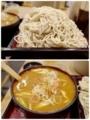 大盛の蕎麦とセルフ七味唐辛子のつけ汁