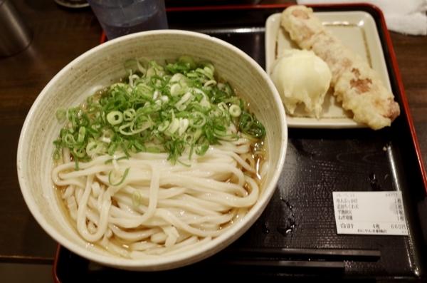 冷大ぶっかけ・ちくわ天・半熟卵天・ねぎ増量(660円)