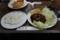 ハンバーグ(500円)+丸皿【付合せ・野菜大盛】(40円)+ライス大盛(30円)