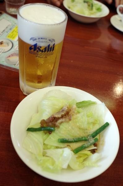 生中ジョッキ(540円)とランチセットの0サラダ