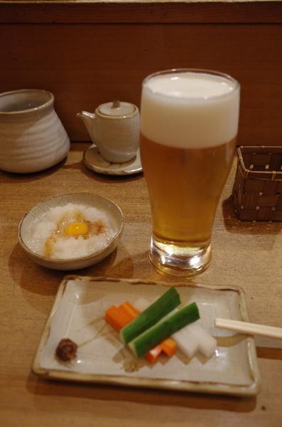 生ビール(600円+税)+お通し(500円+税)