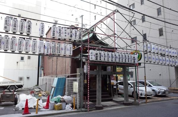 べったら市準備ちうの宝田恵比寿神社