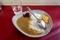 インドカレー(450円)+セルフ輪切唐辛子