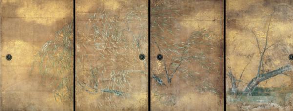 重文 三宝院障壁画 柳草花図(表書院上段之間)