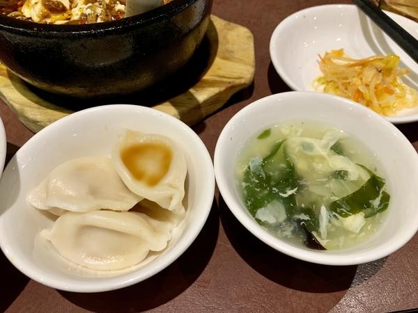 一級点心師の手作り水餃子(3個),日替りスープ,中華サラダ