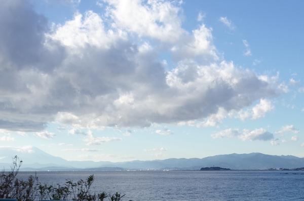 遠くに江ノ島が見える