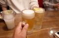 生ビールとハイボールで乾杯
