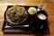 黒胡麻ダッタン蕎麦【大盛550g】(750円)+鯖出汁変更(0円)+とろろ(100円)