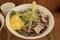 バジル冷そばの蕎麦と具材